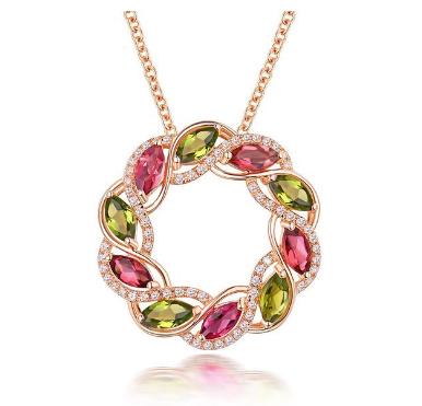 18K Rose Gold Tourmaline & Peridot Pendant - Medusa Jewels