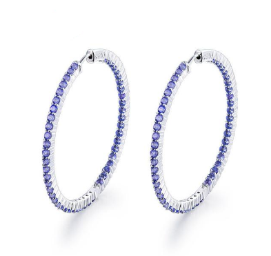 14KT White Gold Tanzanite Hoop Earrings - Medusa Jewels