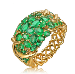 14K Yellow Gold 5.55ct Natural Emerald Vintage Engagement Ring - Medusa Jewels