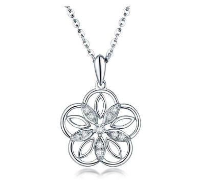 18K White Gold Flower Pendant Necklace - Medusa Jewels