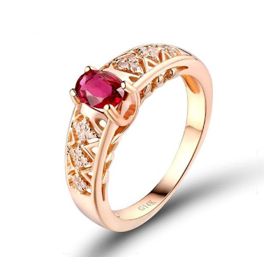14K Rose Gold Oval Red Ruby Ring - Medusa Jewels
