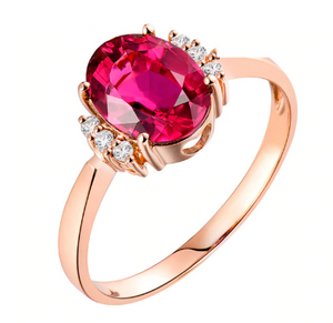 14K Rose Gold 1.35Ct Oval Pink Tourmaline Ring - Medusa Jewels
