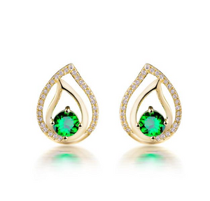 18K Yellow Gold 1.25Ct Tsavorite Earrings - Medusa Jewels