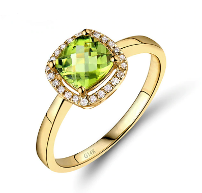 14kt Yellow Gold Cushion Peridot Engagement Ring - Medusa Jewels