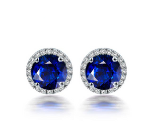 18K White Gold 1.5Ct Blue Sapphire Earrings - Medusa Jewels