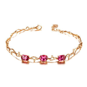 18K Rose Gold 3.0Ct Red Tourmaline Bracelet - Medusa Jewels