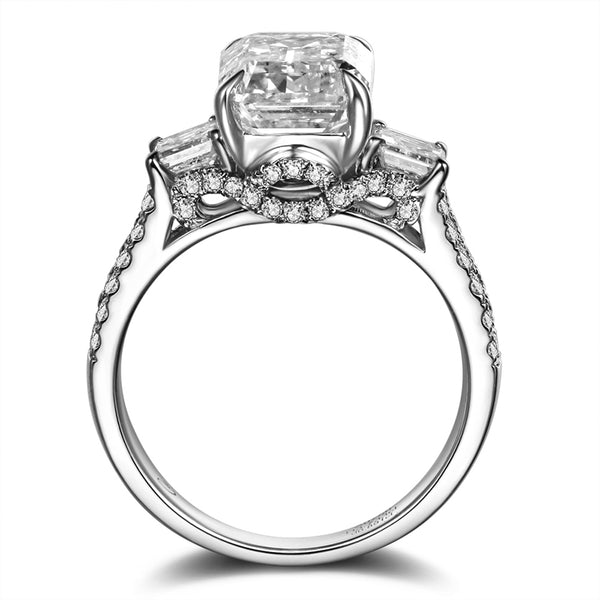 18K White Gold 2Ct Diamond Three-Stone Ring - Medusa Jewels