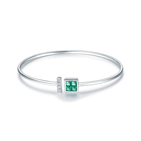 14K White Gold Natural Colombia Emerald Bracelet - Medusa Jewels