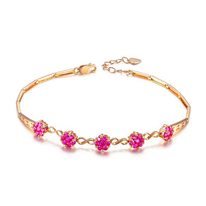 18k Rose Gold 1.40Ct Red Ruby Bracelet - Medusa Jewels