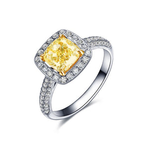 18K White Gold 0.70Ct Cushion Yellow Diamond Ring - Medusa Jewels