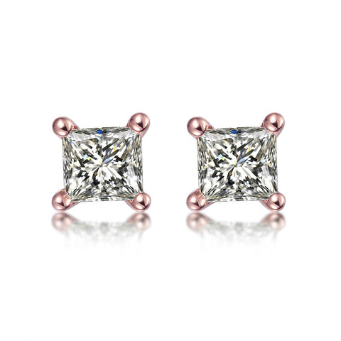 18K Rose/White Gold Princess Cut Stud Diamond 0.16 ct Earrings - Medusa Jewels