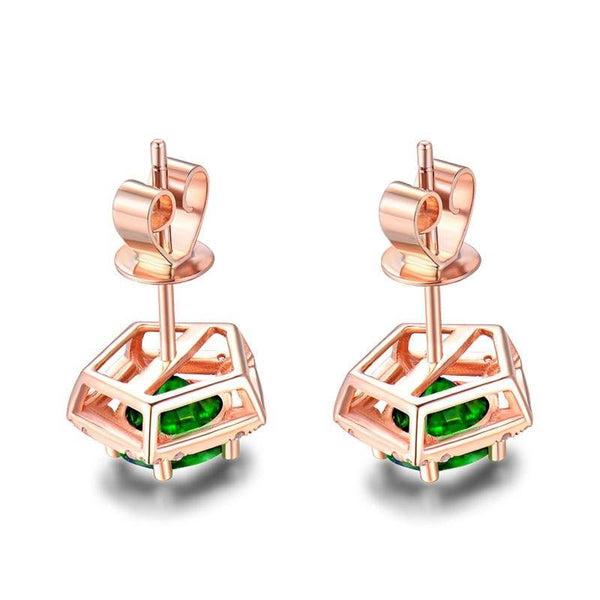 14K Rose Gold Wedding Diamond Natural Tsavorite Earrings - Medusa Jewels