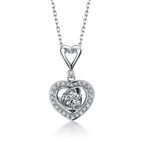 18K White Gold Heart Diamond Pendant - Medusa Jewels