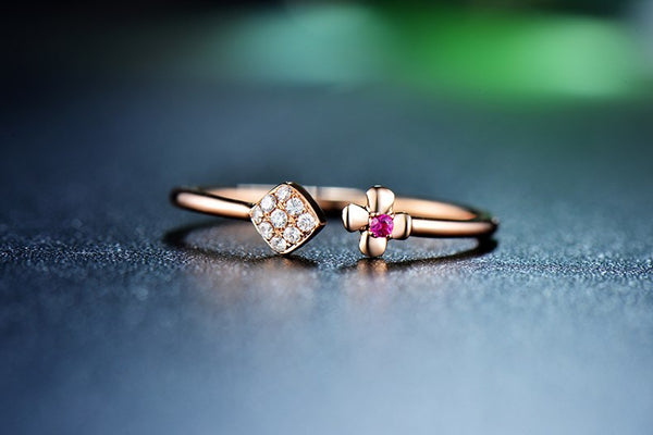 18K Rose Gold Diamonds & Ruby Engagement Ring - Medusa Jewels