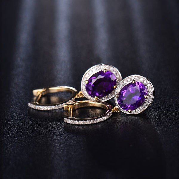 14K Yellow Gold 3.75Ct Oval Purple Amethyst Earrings - Medusa Jewels