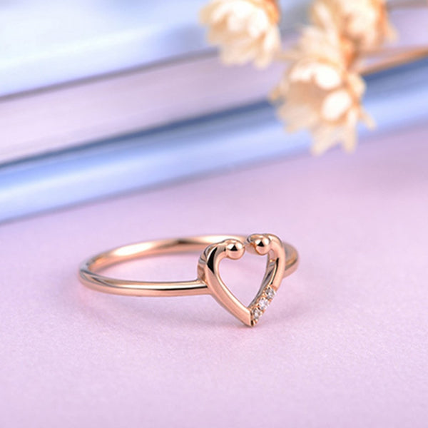 18K gold Heart Rose 0.015 CT Diamond Engagement Ring - Medusa Jewels