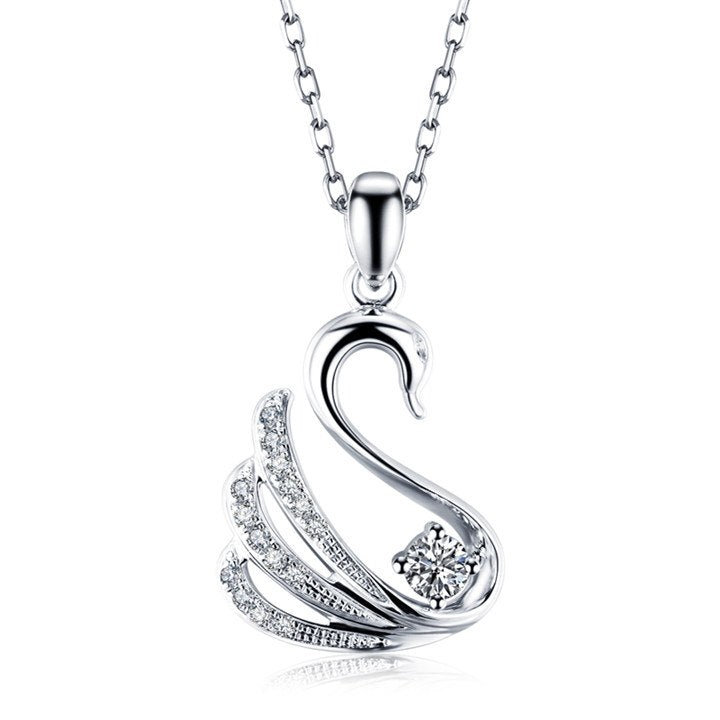 18K White Gold Diamonds Swan Pendant - Medusa Jewels