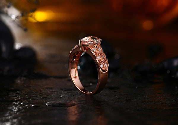 18K Rose Gold 1.81Ct Morganite & Diamonds Ring - Medusa Jewels