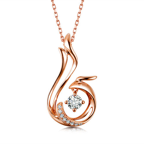 18k Gold Diamond Phoenix Pendant with + Silver Chain - Medusa Jewels