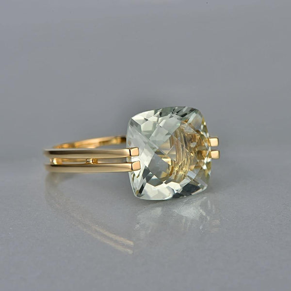 14k Gold Ring 6.6ct Square Cushion Green Amethyst Ring - Medusa Jewels
