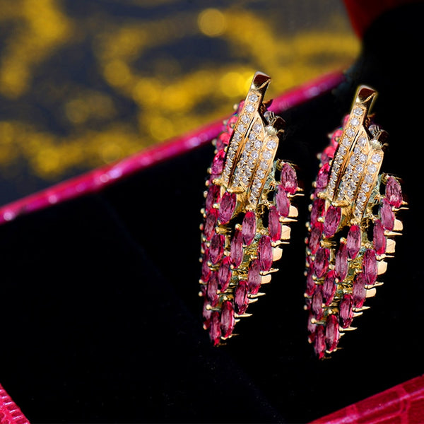 18K Yellow Gold 5.50Ct Red Ruby Earrings - Medusa Jewels
