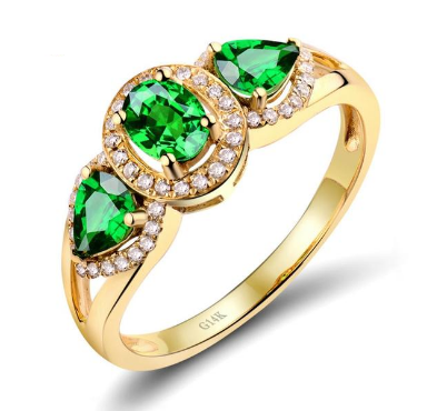 14K Yellow Gold Vintage 1.08Ct Green Tsavorite Engagement Ring - Medusa Jewels