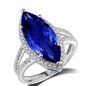 18K White Gold 5.02Ct Marquise Tanzanite Ring - Medusa Jewels