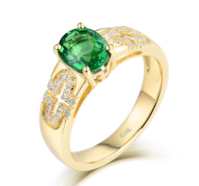 14K Yellow Gold Green Tsavorite Diamond Wedding Ring - Medusa Jewels