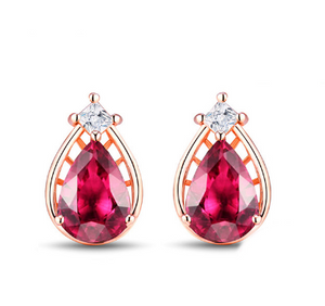 14K Rose Gold Pink Tourmaline & Diamonds Stud Earrings - Medusa Jewels