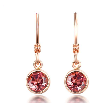 14K Rose Gold Pink Tourmaline Drop Earrings - Medusa Jewels