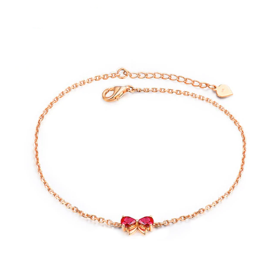 18K Rose Gold Pear Red Ruby Bracelet - Medusa Jewels