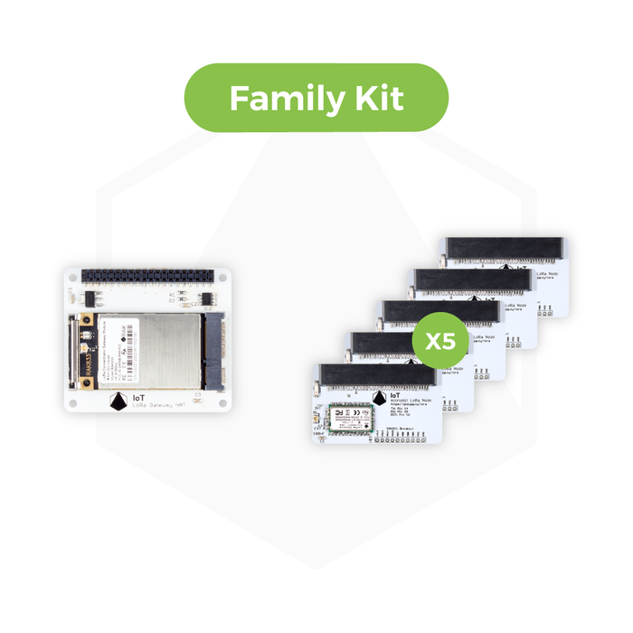 IoT LoRa Family Kit - 10 x IoT micro:bit LoRa Nodes and 1 x IoT LoRa Gateway HAT for Raspberry Pi