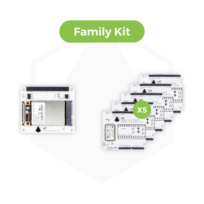 IoT LoRa Family Kit - 10 x IoT micro:bit LoRa Node Shield and 1 x IoT LoRa Gateway HAT for Raspberry Pi