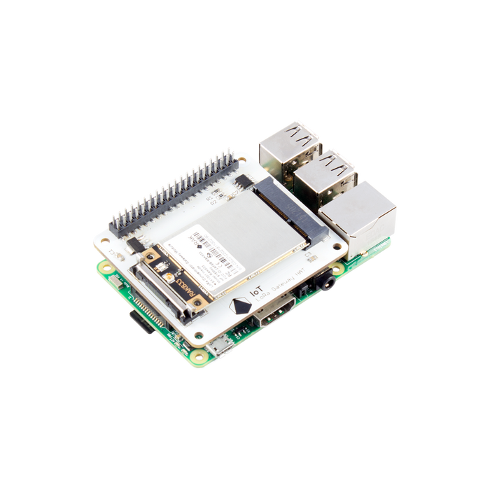 Pi Supply IoT LoRa Gateway HAT (868 MHz / 915 MHz) with Raspberry Pi 3 Model B+ and RAK833 SPI LoRa Gateway Concentrator mPCIe Module based on SX1301