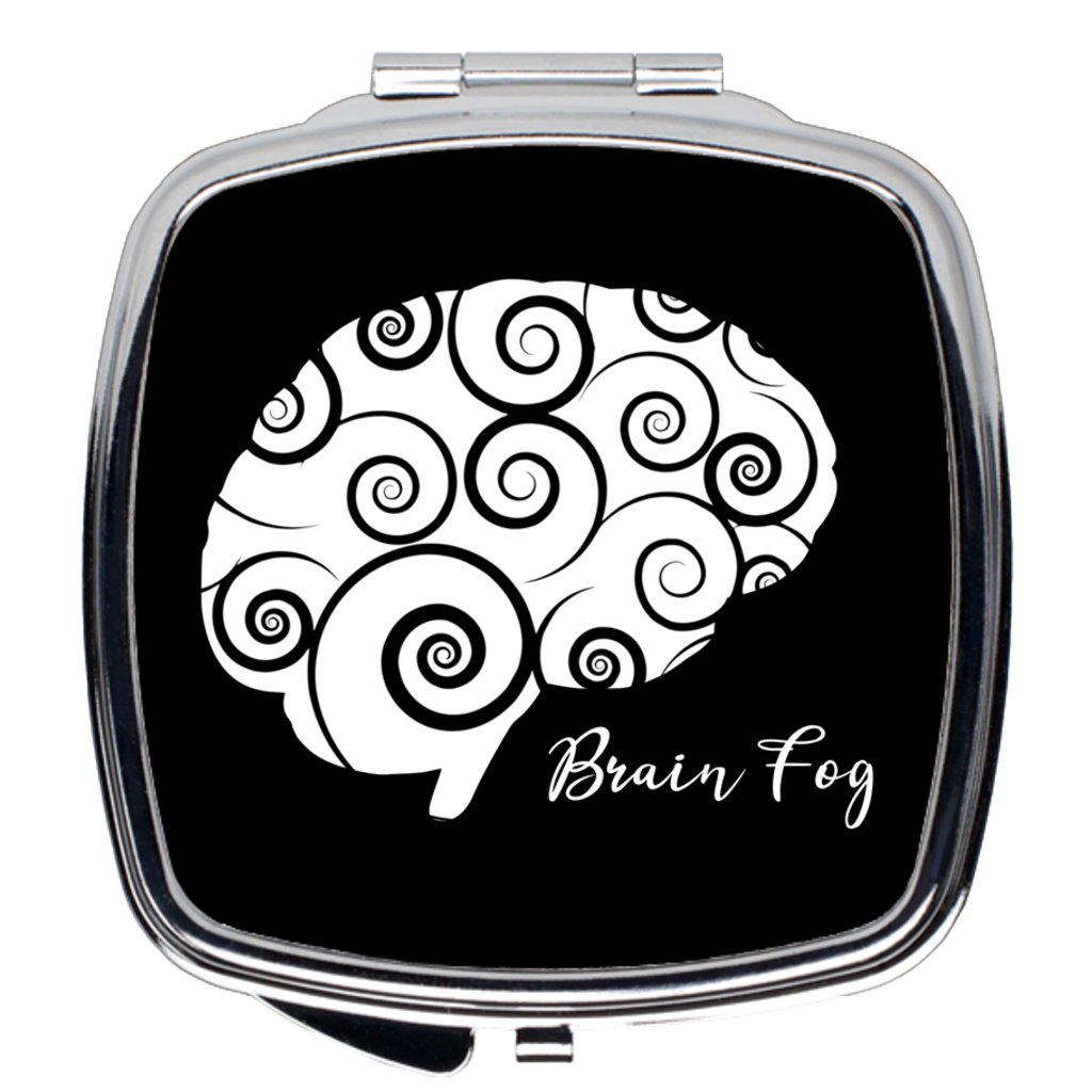 Brain Fog Compact Mirror in Silver and Black