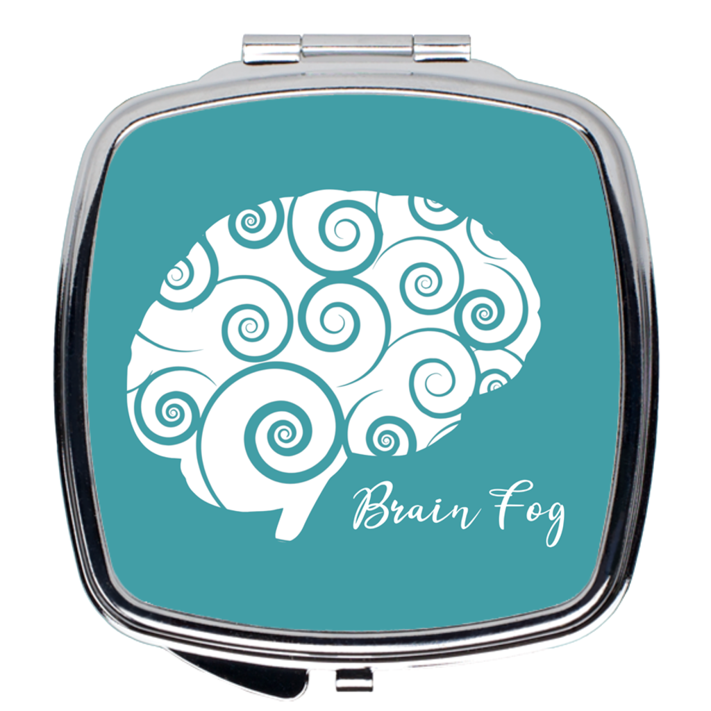 Brain Fog Compact Mirror in Silver and Teal