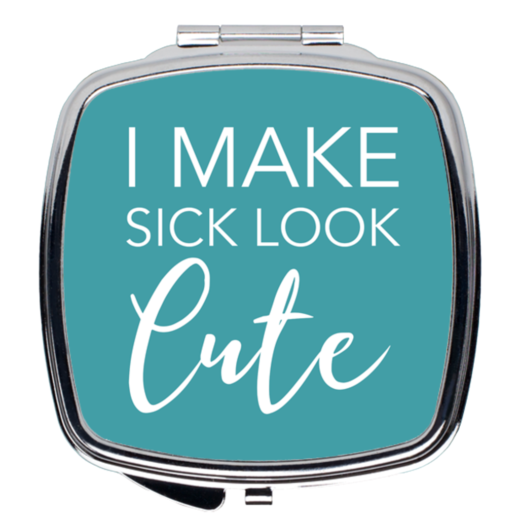 Sick and Cute Compact Mirror in Teal