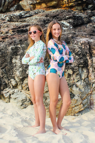 Kids Sun Safe Long Sleeve Sun Suit Girls Swimwear Sunsafe Sun Protection