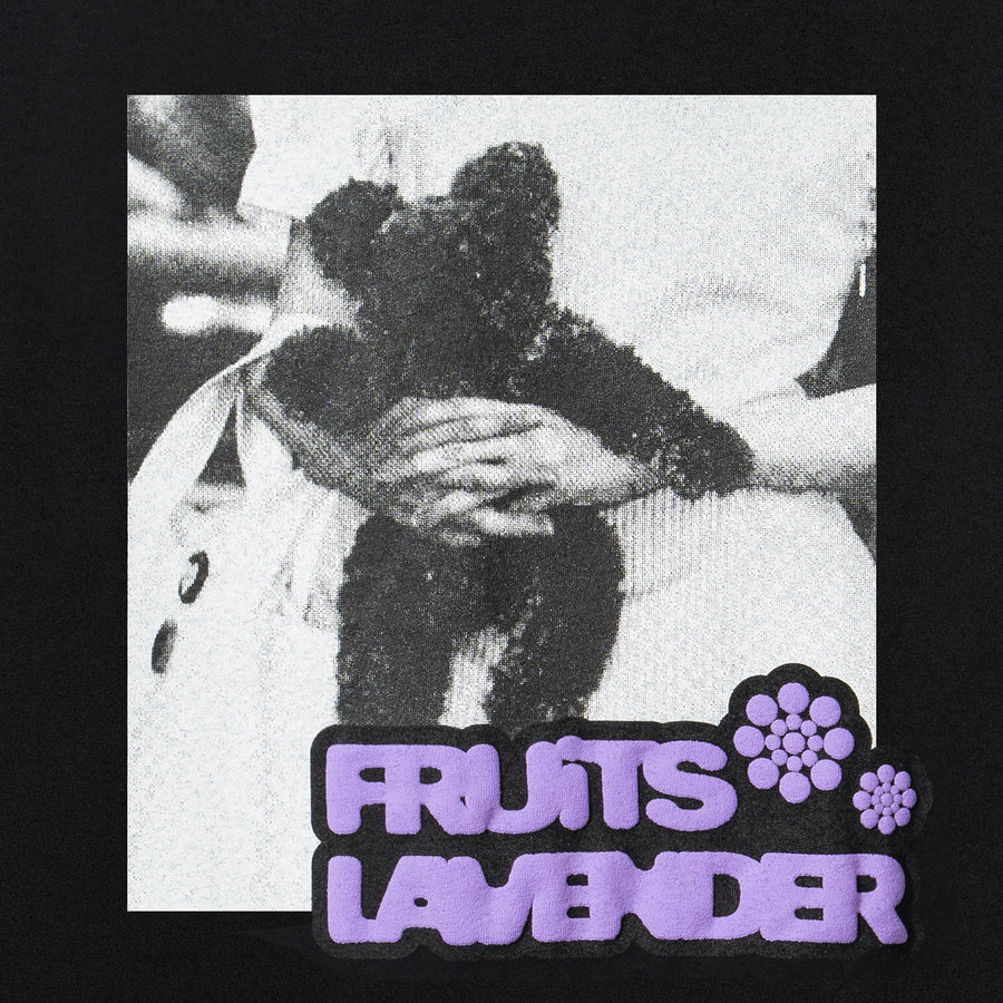 "Lavender x FRUiTS Magazine ""Teddy "" T-Shirt - Black"