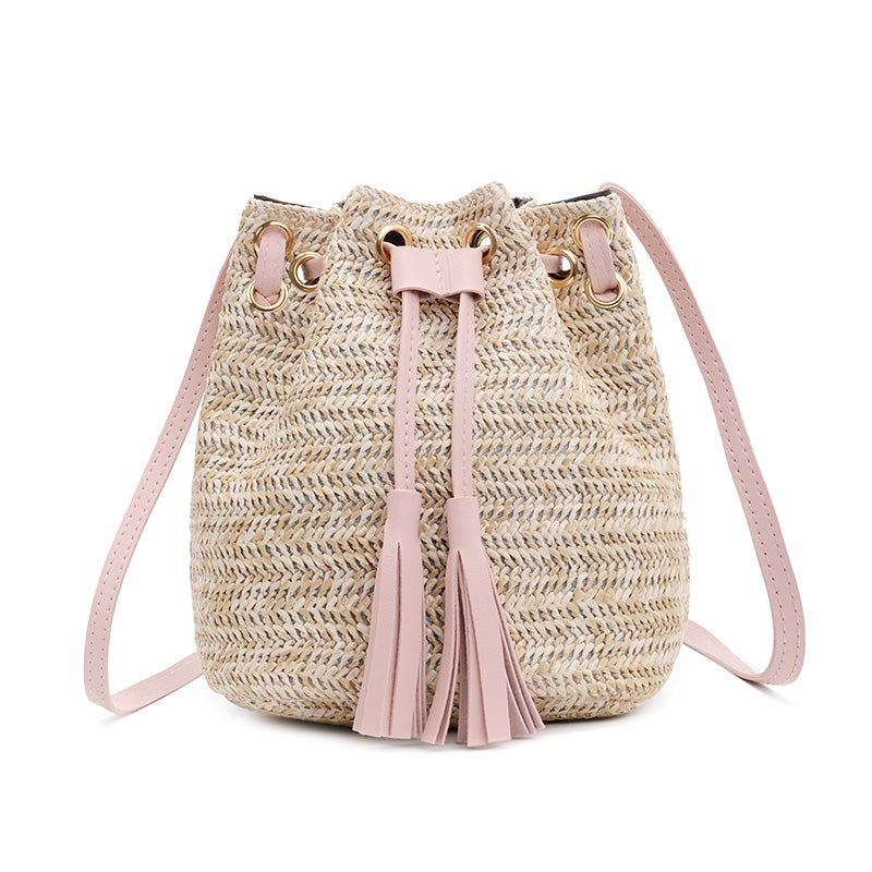 Gaia Woven Straw Bucket Bag - look-bags