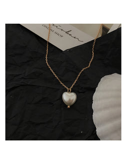 Pearl Heart Necklace - Noir.