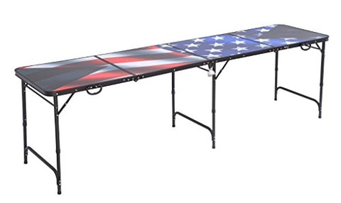 B.P.D. Official 8 Foot Regulation Sized Beer Pong Table (Black American Flag Design)