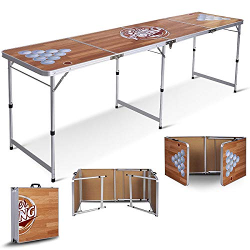 Bpd Official 8 Foot Regulation Sized Beer Pong Table Classic Wood Design