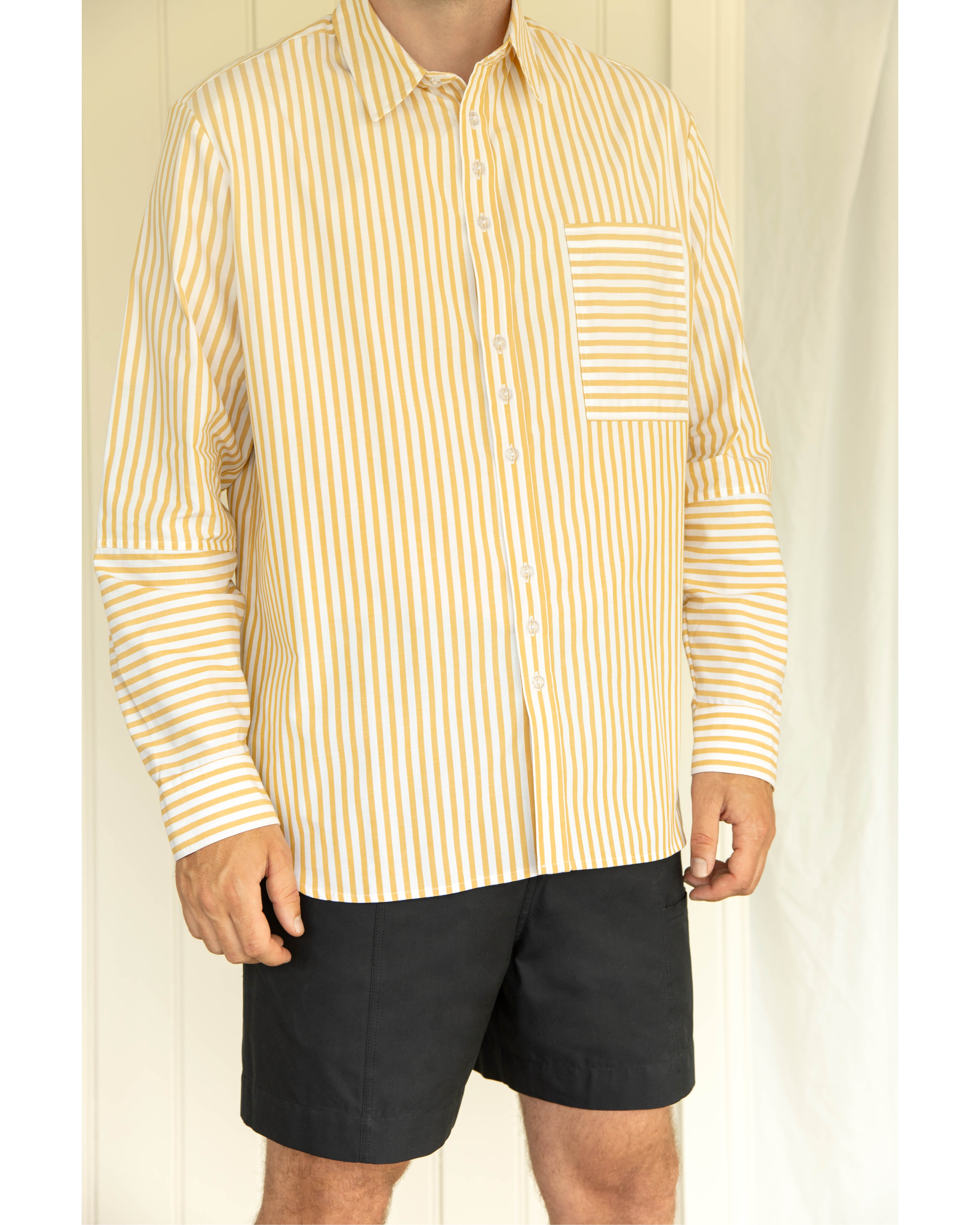Organic Cotton Shirt - Ochre Stripe