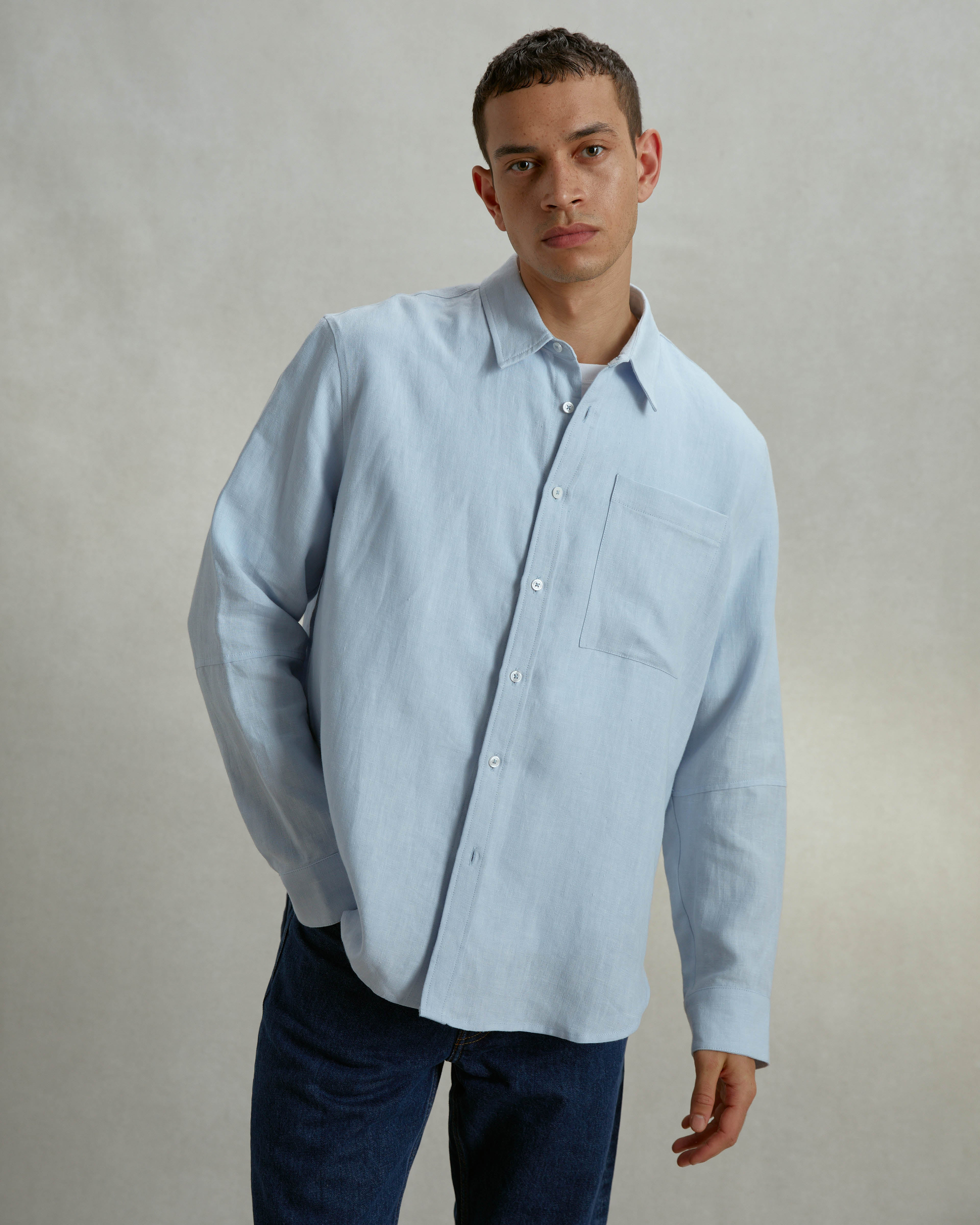 Organic Linen Long Line Shirt - Sky Blue