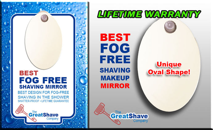 Oval Shower and Makeup Mirror FOG-FREE