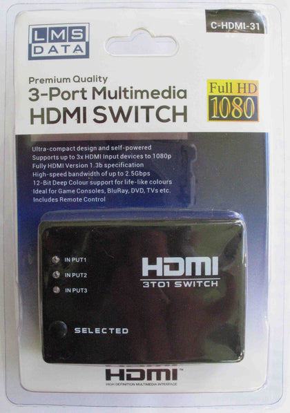 Auto Sensing 3 Port HDMI Splitter with Remote Control - Netbit UK