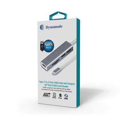 USB3.0 Type-C to 3 Port USB3.0 Hub & Card Reader - Netbit UK