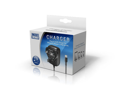 2A USB Power Adaptor & Charger - UK Plug > Lightning 1.5m - Black - Netbit UK