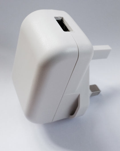 2A USB Power Adaptor & Charger - UK Plug - White - Netbit UK